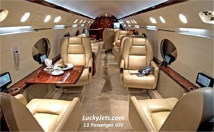 13Pax GIV Charter Flights arranged by Lucky Jets 702-508-9888