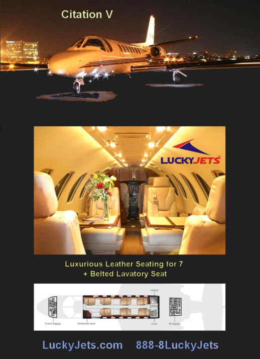 Citation V Private Jet Charters to Las Vegas arranged by Lucky Jets